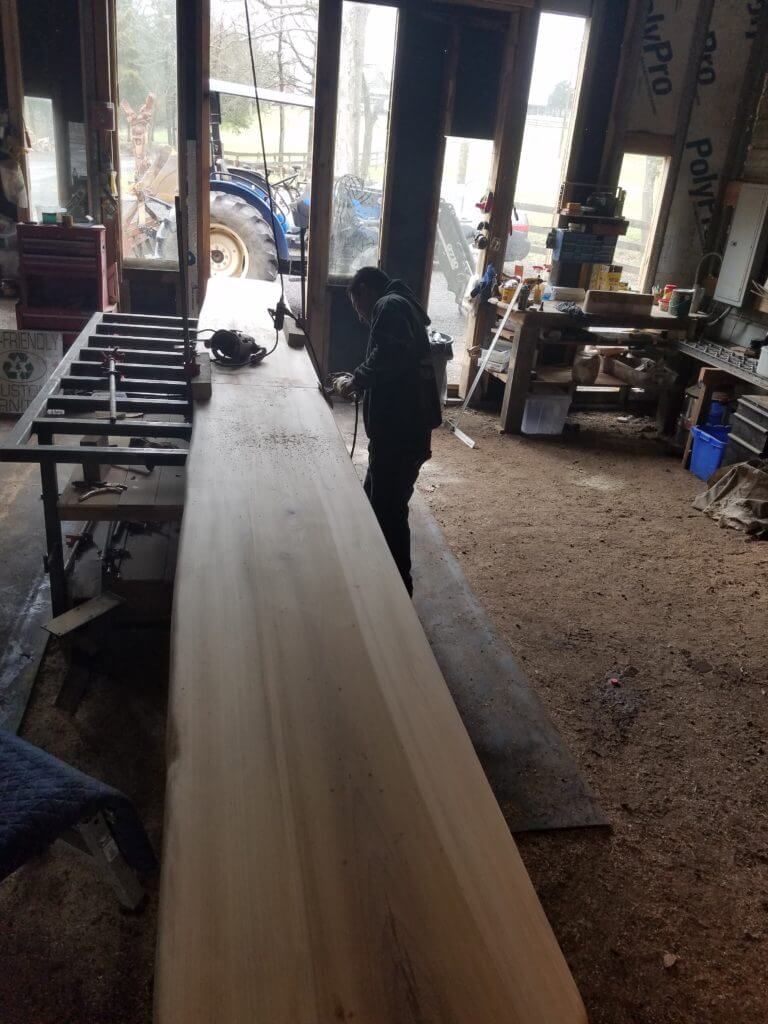 live edge slab of wood