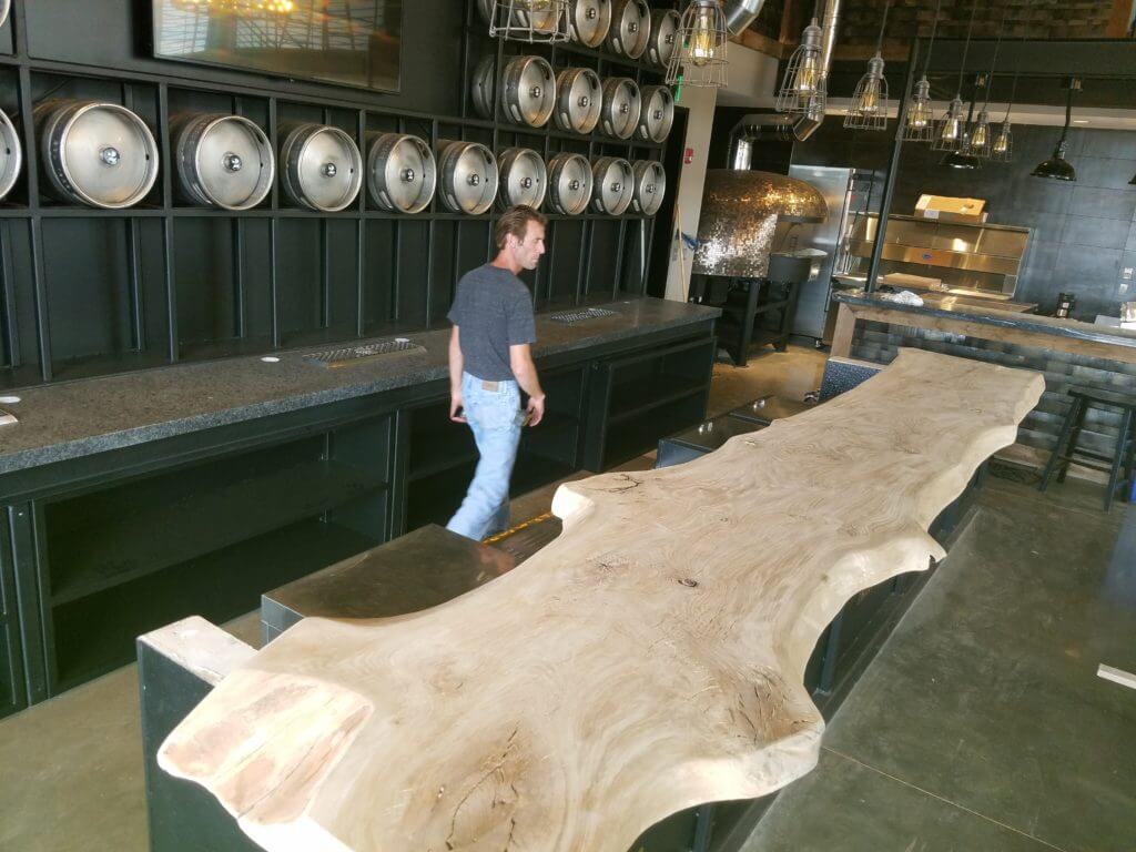 Giant Oak bar top for 2 silos brewery