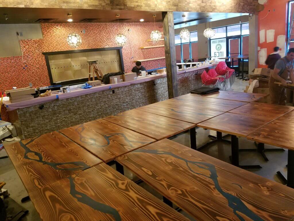 blue amazon river epoxy tables