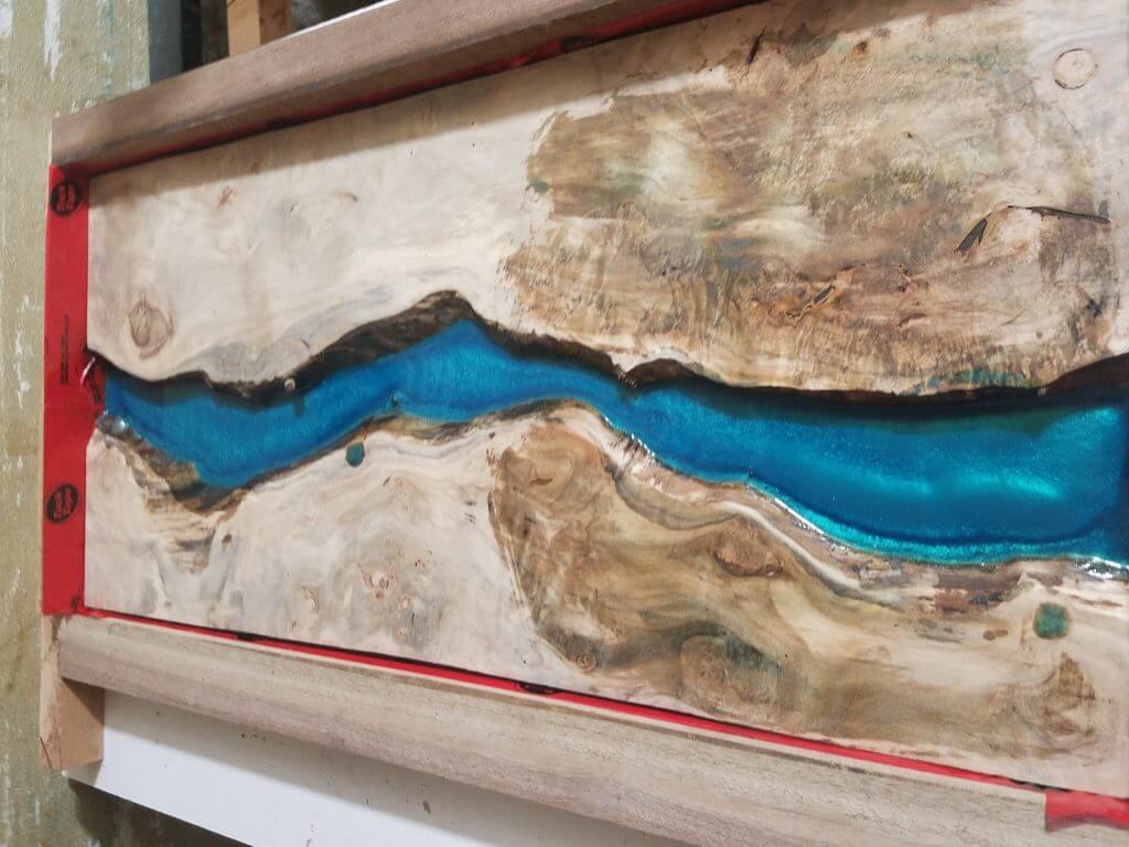 Maple live edge slab epoxy table